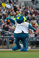 Mascot Mason of the Columbia Fireflies works the crowd in the home opener against the Greenville Drive on Thursday, April 14, 2016, their first day at the new Spirit Communications Park in Columbia, South Carolina. The Mets affiliate moved to Columbia this year from Savannah. Columbia won, 4-1. (Tom Priddy/Four Seam Images)