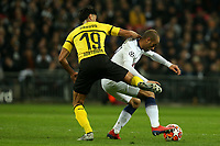 Mahmoud Dahoud of Borussia Dortmund and Lucas of Tottenham Hotspur during Tottenham Hotspur vs Borussia Dortmund, UEFA Champions League Football at Wembley Stadium on 13th February 2019
