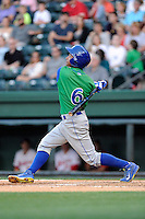 Second baseman Carlos Garcia (6) of the Lexington Legends in a game against the Greenville Drive on Thursday, April 24, 2014, at Fluor Field at the West End in Greenville, South Carolina. Greenville won, 9-4. (Tom Priddy/Four Seam Images)
