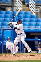 Dunedin Blue Jays shortstop Ivan Castillo (1) at bat during a game against the Lakeland Flying Tigers on May 27, 2018 at Dunedin Stadium in Dunedin, Florida.  Lakeland defeated Dunedin 2-1.  (Mike Janes/Four Seam Images)