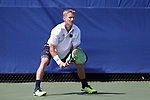 DURHAM, NC - APRIL 14: Notre Dame's Josh Hagar. The Duke University Blue Devils hosted the University of Notre Dame Fighting Irish on April 14, 2017, at Ambler Tennis Stadium in Durham, NC in a Division I College Men's Tennis match. Duke won the match 4-3.