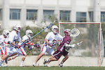 Los Angeles, CA 03/20/10 - Chase Parlett (LMU # 6), Cooper Robbins (Arizona # 10) and Christian Schaefer (Arizona # 11)in action during the Arizona-Loyola Marymount University MCLA game at Leavey Field (LMU).  LMU defeated Arizona 13-6.