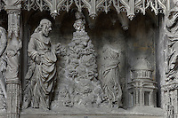 Jesus is tempted three times by the devil while fasting in the Judaean desert. The triple temptation, by Thomas Boudin, 1611-12, from the choir screen, Chartres Cathedral, Eure-et-Loir, France. Chartres cathedral was built 1194-1250 and is a fine example of Gothic architecture. It was declared a UNESCO World Heritage Site in 1979. Picture by Manuel Cohen.