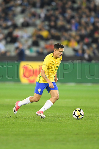 June 9th 2017, Melbourne Cricket Ground, Melbourne, Australia; International Football Friendly; Brazil versus Argentina; Philippe Correia of Brazil breaks forward with the ball