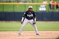 Lansing Lugnuts third baseman Vladimir Guerrero Jr. (27) during a game against the Clinton LumberKings on May 9, 2017 at Ashford University Field in Clinton, Iowa.  Lansing defeated Clinton 11-6.  (Mike Janes/Four Seam Images)
