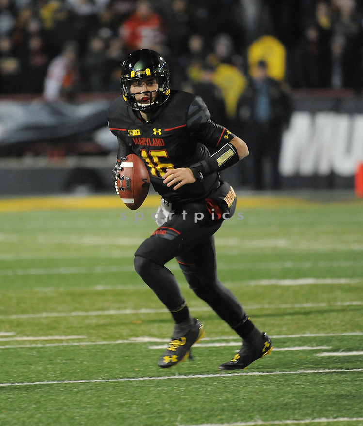 Maryland Terrapins CJ Brown (16) during a game against the Michigan State Spartans on November 15, 2014 at Byrd Stadium in College Park, MD. Michigan State beat Maryland 37-15.