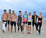 MIAMI BEACH, FLORIDA - APRIL 03: Scott Eastwood, Geoff Stults, Parker Young, Steven McQueen, Jenny Fletcher, Lisa Roberts, Bryan Greenberg and Claire Holt participates in Life Time South Beach Triathlon benefiting the St. Jude Children Hospital at Lummus Park on Sunday April 3, 2016 in Miami Beach, Florida. ( Photo by Johnny Louis / jlnphotography.com )