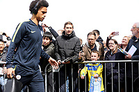 Fans greet Manchester City's Leroy Sane as he arrives at Turf Moor ahead of kick-off at Turf Moor<br /> <br /> Photographer Rich Linley/CameraSport<br /> <br /> The Premier League - Burnley v Manchester City - Sunday 28th April 2019 - Turf Moor - Burnley<br /> <br /> World Copyright © 2019 CameraSport. All rights reserved. 43 Linden Ave. Countesthorpe. Leicester. England. LE8 5PG - Tel: +44 (0) 116 277 4147 - admin@camerasport.com - www.camerasport.com