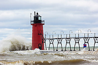 64795-02206 South Haven Lighthouse with high waves crashing South Haven,  MI