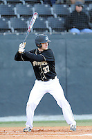 First baseman James Plaisted (37) of the Wofford College Terriers bats in a game against the Boston College Eagles on Friday, February 13, 2015, at Russell C. King Field in Spartanburg, South Carolina. Wofford won, 8-4. (Tom Priddy/Four Seam Images)
