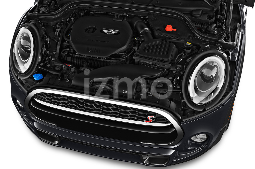 Car Stock 2016 MINI Cooper S 2 Door Convertible Engine  high angle detail view