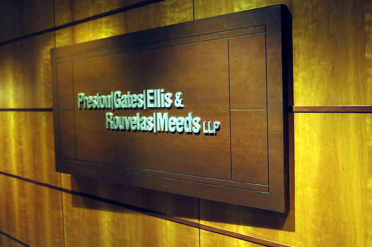 Sign in the front office of the firm Preston Gates.