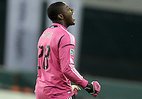 WASHINGTON, DC - OCTOBER 20, 2012:  Bill Hamid (28) of D.C United at the end of the game against the Columbus Crew during an MLS match at RFK Stadium in Washington D.C. on October 20. D.C United won 3-2.