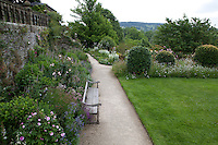 View over gardens at Haddon Hall in summer
