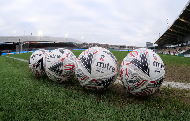 A general view of Rodney Parade home of Newport County and the FA Cup match day footballs <br /> <br /> Photographer Ian Cook/CameraSport<br /> <br /> The Emirates FA Cup Third Round - Newport County v Leicester City - Sunday 6th January 2019 - Rodney Parade - Newport<br />  <br /> World Copyright &copy; 2019 CameraSport. All rights reserved. 43 Linden Ave. Countesthorpe. Leicester. England. LE8 5PG - Tel: +44 (0) 116 277 4147 - admin@camerasport.com - www.camerasport.com