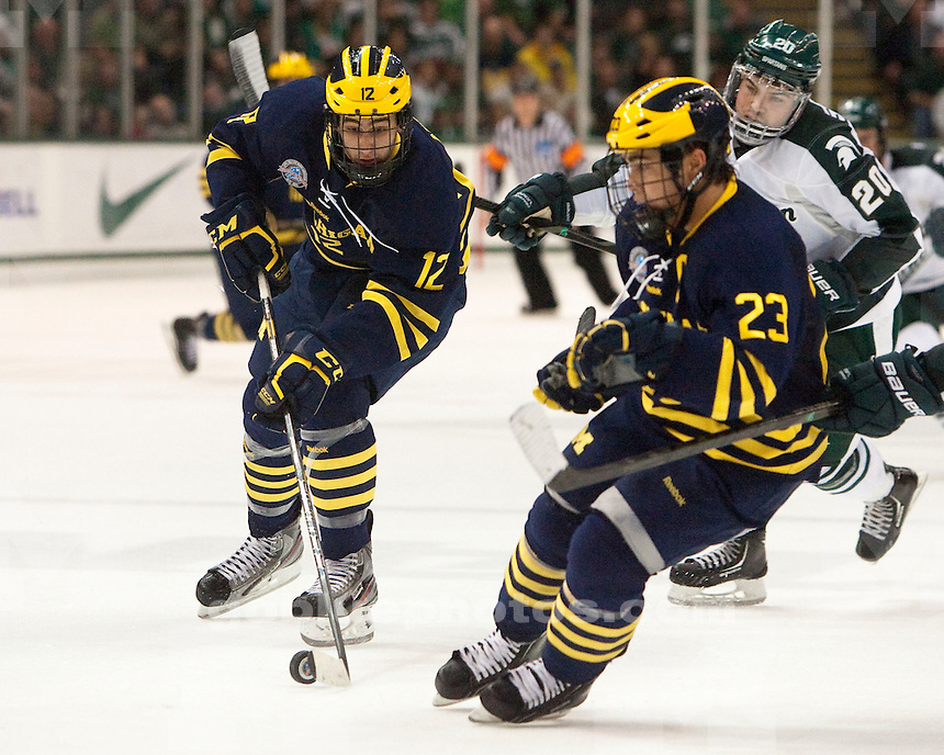 The University of Michigan ice hockey team lost to Michigan State, 7-2,at Munn Arena in East Lansing, Mich., on November 10, 2012.