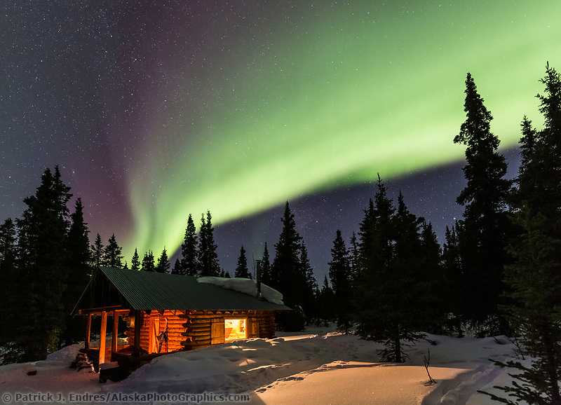 Northern lights over a rustic log cabin in the Alaska Range mountains, Interior, Alaska.