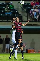 STANFORD, CA - August 19, 2014: Adam Mosharrafa during the Stanford vs CSU Bakersfield men's exhibition soccer match in Stanford, California.  Stanford won 1-0.