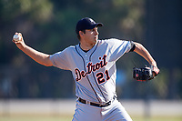 Detroit Tigers pitcher Alex Faedo (21) throws to first base on a pickoff attempt during a Minor League Spring Training intrasquad game on March 24, 2018 at the TigerTown Complex in Lakeland, Florida.  (Mike Janes/Four Seam Images)
