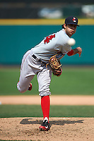 Pawtucket Red Sox pitcher Noe Ramirez (24) follows through on a pitch during a game against the Rochester Red Wings on July 1, 2015 at Frontier Field in Rochester, New York.  Rochester defeated Pawtucket 8-4.  (Mike Janes/Four Seam Images)