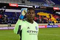 HARRISON, NJ - FEBRUARY 26: Sean Johnson #1 of NYCFC during a game between AD San Carlos and NYCFC at Red Bull on February 26, 2020 in Harrison, New Jersey.