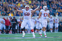 BERKELEY, CA - NOVEMBER 22, 2014: David Parry celebrates during Stanford's 117th Big Game against Cal. The Cardinal defeated the Bears 38-17.