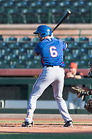AZL Rangers center fielder Ryan Anderson (6) at bat during an Arizona League game against the AZL Giants Black at Scottsdale Stadium on August 4, 2018 in Scottsdale, Arizona. The AZL Giants Black defeated the AZL Rangers by a score of 3-2 in the first game of a doubleheader. (Zachary Lucy/Four Seam Images)