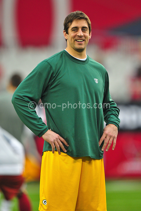 Jan 10, 2010; Glendale, AZ, USA; Green Bay Packers quarterback Aaron Rodgers (12) prior to the 2010 NFC wild card playoff game at University of Phoenix Stadium.  Mandatory Credit: Chris Morrison-US PRESSWIRE