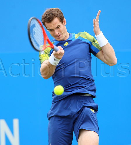 13.06.2013.  London, England. Andy Murray in action against Nicolas Mahut during the The Aegon Championships from the The Queen's Club in West Kensington.