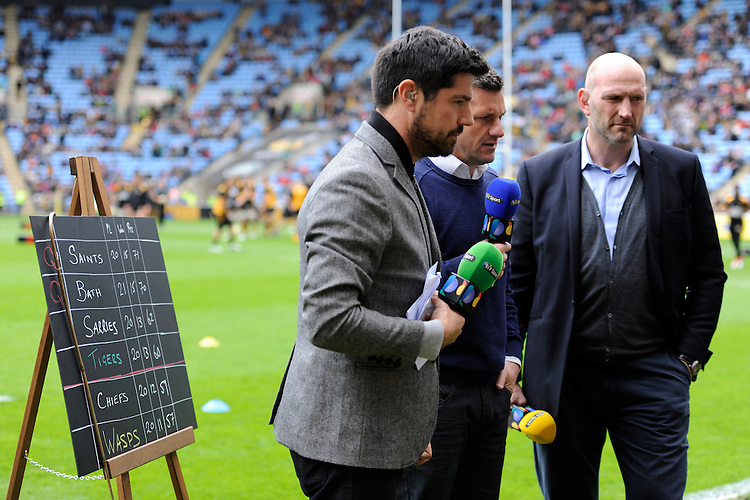 BT Sport use a blackboard and chalk to show the Premiership table positions before kick off