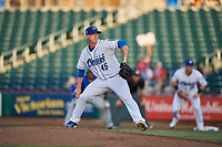 Omaha Storm Chasers starting pitcher Heath Fillmyer (45) delivers a pitch to the plate against the Round Rock Express at Werner Park on May 27, 2018 in Papillion , Nebraska. Round Rock defeated Omaha 8-3. (Stephen Smith/Four Seam Images)