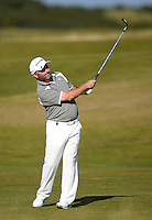 Damien McGrane of Ireland hits an approach during Round 2 of the 2015 Alfred Dunhill Links Championship at the Old Course, St Andrews, in Fife, Scotland on 2/10/15.<br /> Picture: Richard Martin-Roberts | Golffile