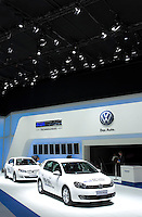 SHANGHAI, CHINA - April 19: The Volkswagen booth awaits visitors at Shanghai Motor Show on April 19, 2009 in Shanghai, China. Shanghai auto show opened Monday for the press and will be open April 24-28 for the public. China is the only major auto market still growing despite the global economic slowdown. U.S. and global auto makers see China as the place where they can find the sales they desperately lack in their home market. Chinese automakers see the opportunity to assess themselves as major players in the world market. (Photo by Lucas Schifres/Getty Images)