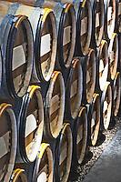 Oak barrel aging and fermentation cellar. Chateau Kirwan, Margaux, Medoc, Bordeaux, France