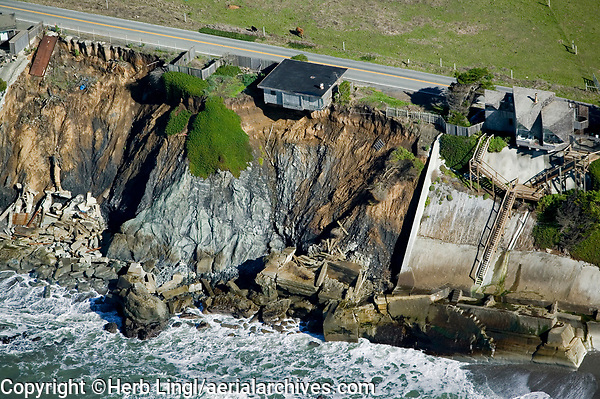 aerial photograph coastal erosion, Sonoma County, California