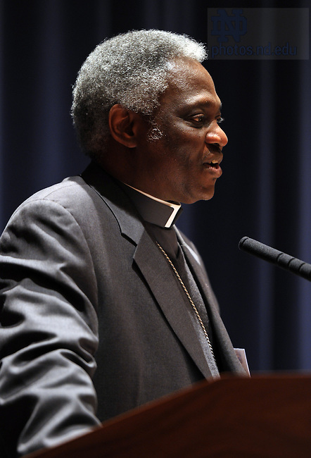 Mar. 25, 2011; Cardinal Peter Kodwo Appiah Turkson, President of the Pontifical Council for Justice and Peace delivers the 2011 Romero Lecture...Photo by Matt Cashore/University of Notre Dame