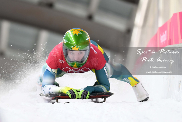 Jackie Narracott (AUS). Womens skeleton training. Pyeongchang2018 winter Olympics. Alpensia sliding centre. Alpensia. Gangneung. Republic of Korea. 12/02/2018. ~ MANDATORY CREDIT Garry Bowden/SIPPA - NO UNAUTHORISED USE - +44 7837 394578