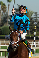 "ARCADIA, CA. OCTOBER 7:  Kent Desormeaux looks up after guiding Roy H to a win in the Santa Anita Sprint Championship (Grade l)""Win and You're In Sprint Division"" on October 7, 2017, at Santa Anita Park in Arcadia, CA.(Photo by Casey Phillips/Eclipse Sportswire/Getty Images)"