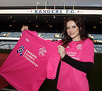 Amy MacDonald at Ibrox to watch her heroes and promote the Rangers Charity Foundation's pink top