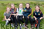 Ciara Keane (Lixnaw), Lisa Kearney (Ballyheigue), Clodagh O'Carrol, Ruby O'Riordan (Causeway) and Mairead Brosnan (Lixnaw) at the start of the Mikey Costelloe Mt. Brandon charity walk in aid of Palliative Care on Saturday morning.