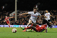 Blackburn Rovers' Marvin Emnes is fouled by Fulham's Tim Ream leading to a penalty converted by Craig Conway<br /> <br /> Photographer /Ashley WesternCameraSport<br /> <br /> The EFL Sky Bet Championship - Fulham v Blackburn Rovers - Tuesday 14th March 2017 - Craven Cottage - London<br /> <br /> World Copyright &copy; 2017 CameraSport. All rights reserved. 43 Linden Ave. Countesthorpe. Leicester. England. LE8 5PG - Tel: +44 (0) 116 277 4147 - admin@camerasport.com - www.camerasport.com