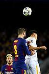 UEFA Champions League 2017/2018.<br /> Quarter-finals 1st leg.<br /> FC Barcelona vs AS Roma: 4-1.<br /> Gerard Pique vs Lorenzo Pellegrini.