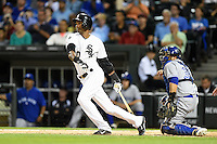 Chicago White Sox shortstop Alexei Ramirez (10) at bat during a game against the Toronto Blue Jays on August 15, 2014 at U.S. Cellular Field in Chicago, Illinois.  Chicago defeated Toronto 11-5.  (Mike Janes/Four Seam Images)