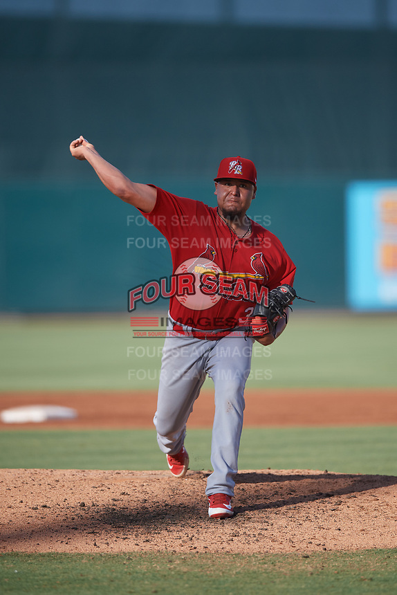 Palm Beach Cardinals starting pitcher Jesus Cruz (38) delivers a pitch during a game against the Jupiter Hammerheads on August 4, 2018 at Roger Dean Chevrolet Stadium in Jupiter, Florida.  Palm Beach defeated Jupiter 7-6.  (Mike Janes/Four Seam Images)