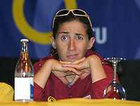 07 MAY 2004 - FUNCHAL, MADEIRA - Vanessa Fernandes (POR) waits for the start of a press conference at the World Triathlon Championships. (PHOTO (C) NIGEL FARROW)