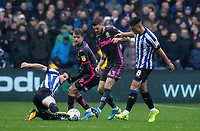 Leeds United's Mateusz Klich (centre) competing with Sheffield Wednesday's Sam Hutchinson (left) <br /> <br /> Photographer Andrew Kearns/CameraSport<br /> <br /> The EFL Sky Bet Championship - Sheffield Wednesday v Leeds United - Saturday 26th October 2019 - Hillsborough - Sheffield<br /> <br /> World Copyright © 2019 CameraSport. All rights reserved. 43 Linden Ave. Countesthorpe. Leicester. England. LE8 5PG - Tel: +44 (0) 116 277 4147 - admin@camerasport.com - www.camerasport.com