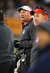 Fresno State Head Coach Tim DeRuyter works the sidelines during the first half of an NCAA college football game against Nevada in Reno, Nev., on Saturday, Nov. 22, 2014. Fresno State won 40-20. (AP Photo/Cathleen Allison)