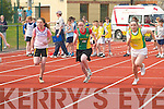 Colleen Breen (An Riocht) leads the way from Hannah OSullivan (Gneeveguilla) in the U13 80m heats at the County Athletic Championships in Castleisland on Saturday..