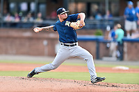 Columbia Fireflies starting pitcher Andrew Church (15) delivers a pitch during a game against the Asheville Tourists at McCormick Field on August 17, 2016 in Asheville, North Carolina. The Tourists defeated the Fireflies 7-6. (Tony Farlow/Four Seam Images)