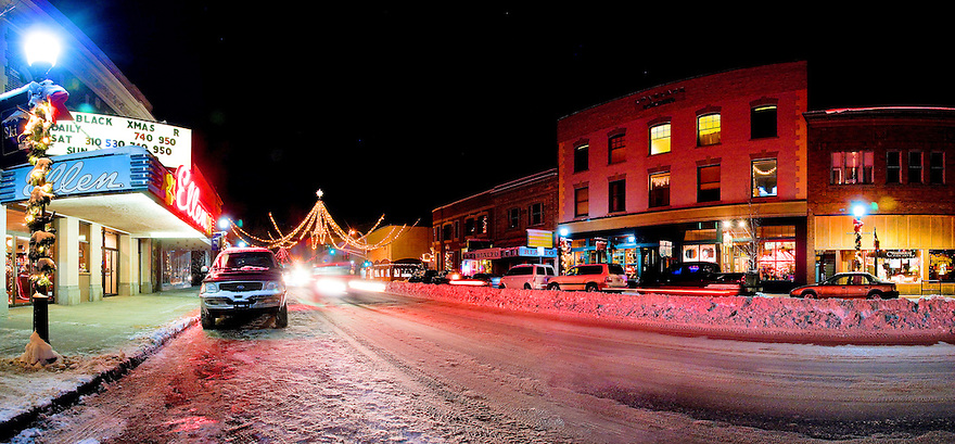 The Ellen Theatre lights up Main Street in downtown Bozeman, Montana.